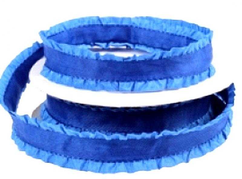 Фото Ленты,  Декоративные  тканевые  ленты . Лента декоративная 22 мм. Сине - Голубая с рюшей.