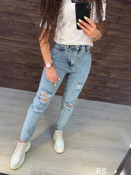 Стильные джинсы МОМ с высокой посадкой.
