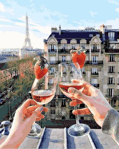 Фото Картины на холсте по номерам, Романтические картины. Люди Q2222 Шампанское и клубника Роспись по номерам на холсте 40х50см
