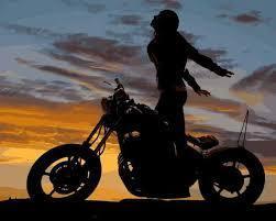 Фото Картины на холсте по номерам, Романтические картины. Люди Q2218 Мотоциклистка Роспись по номерам на холсте 40х50см