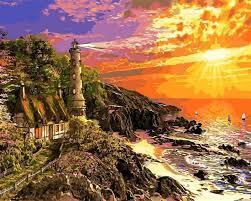 Фото Картины на холсте по номерам, Морской пейзаж Q2230 Каменная бухта Роспись по номерам на холсте 40х50см