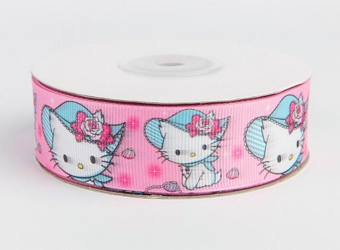 Фото Ленты, Лента репсовая с рисунком Лента  репсовая  2,5 см. цвет розовый с белым котиком в голубой шляпе