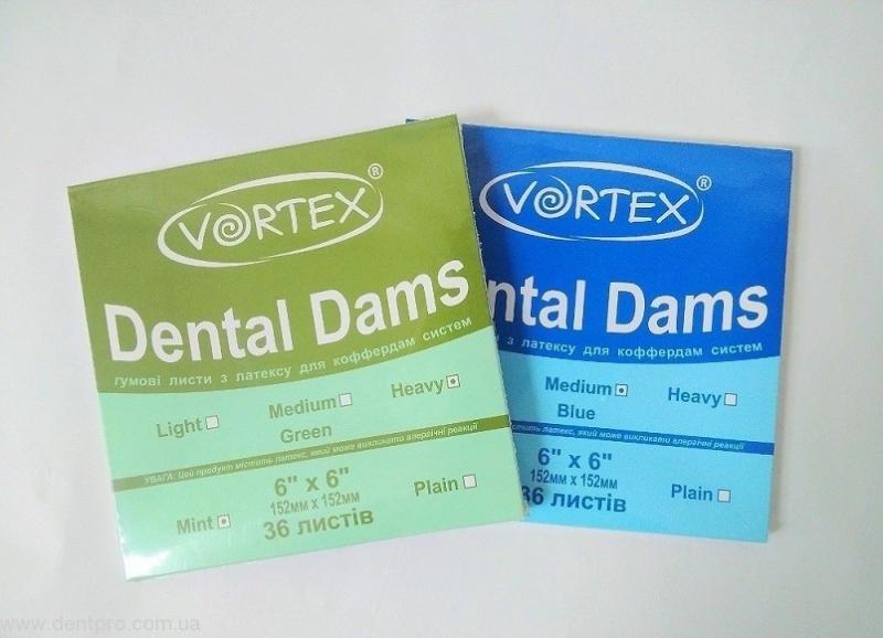 Платки коффердама зеленые VORTEX (36шт)