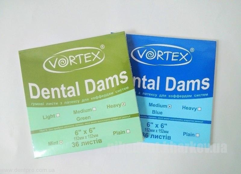Фото Для стоматологических клиник, Инструменты и материалы для коффердама Платки коффердама зеленые VORTEX (36шт)