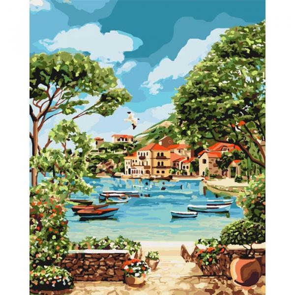 Фото Картины на холсте по номерам, Морской пейзаж KH 2738 Отдых в бухте Роспись по номерам на холсте 40х50см