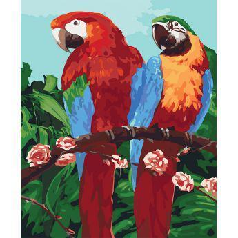 Фото Картины на холсте по номерам, Картины  в пакете (без коробки) 50х40см; 40х40см; 40х30см, Животные, птицы, рыбы KHO 4051