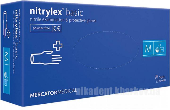 Фото Для стоматологических клиник, Расходные материалы Перчатки Mercator Medical SIZE - S, M, L (серии Nitrylex Basic )  50пар/уп.
