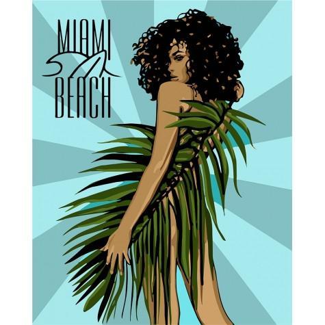 Фото Картины на холсте по номерам, Романтические картины. Люди KH 4699 Miami Beach Картина по номерам на холсте 40х50см