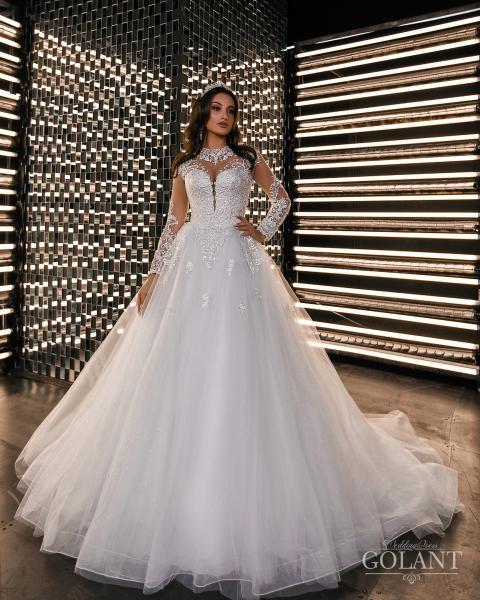 Блестящее закрытое свадебное платье Аниса