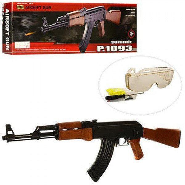 Фото Игрушечное Оружие, Стреляет пластиковыми 6мм  пульками, Металлическое и комбинированное (металл + пластик) оружие Детский страйкбольный автомат АК-47  Р1093 (ZM 93)  металл+пластик .