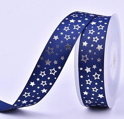 Фото Новинки Репсовая  лента  2,5 см.   V I P  класса .  Тёмно - Синего  цвета  с  Серебряным  фольгированым  принтом  звёздочки .
