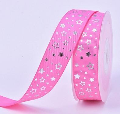 Фото Новинки Репсовая  лента  2,5 см.   V I P  класса .  Ярко  - Розового  цвета  с  Серебряным  фольгированым  принтом  звёздочки .