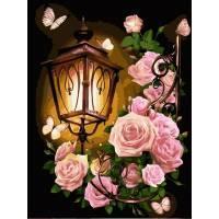 Фото Картины на холсте по номерам, Букеты, Цветы, Натюрморты VK 224 Фонарь в розах Роспись по номерам на холсте 40x30см