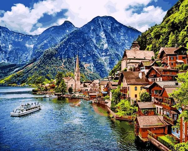 Фото Картины на холсте по номерам, Картины по номерам 50х65см VPS 1087 Летняя Австрия Картина по номерам на холсте 65х50см