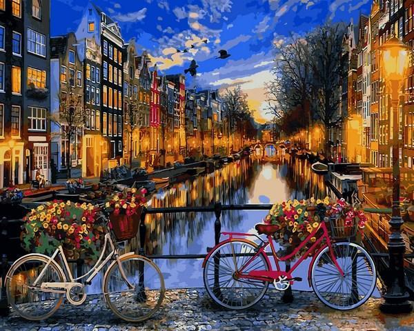 Фото Картины на холсте по номерам, Картины по номерам 50х65см VPS 1148 Вечерний Амстердам Картина по номерам на холсте 65х50см