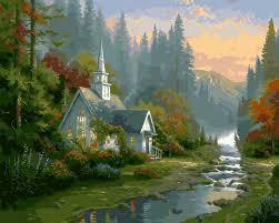 Фото Картины на холсте по номерам, Загородный дом VP 136 Домик на рассвете Роспись по номерам на холсте 40х50см
