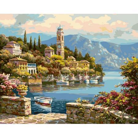 Фото Картины на холсте по номерам, Морской пейзаж VP 018 Башня на берегу Роспись по номерам на холсте 50х40см