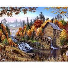 Фото Картины на холсте по номерам, Загородный дом VP 143 Домик в лесу Роспись по номерам на холсте 40х50см