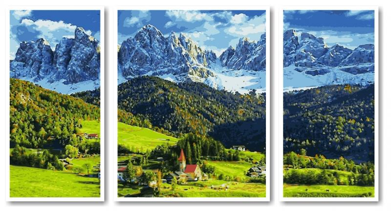 Фото Картины на холсте по номерам, Триптих, диптих VPT 040 Триптих Альпы Роспись по номерам на холсте 50х90см