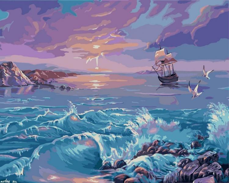 Фото Картины на холсте по номерам, Морской пейзаж VP 210 Картина по номерам Одинокий парус 40х50см