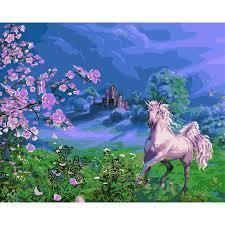 Фото Картины на холсте по номерам, Животные. Птицы. Рыбы... VP 170 Розовая лошадь Роспись по номерам на холсте 40х50см