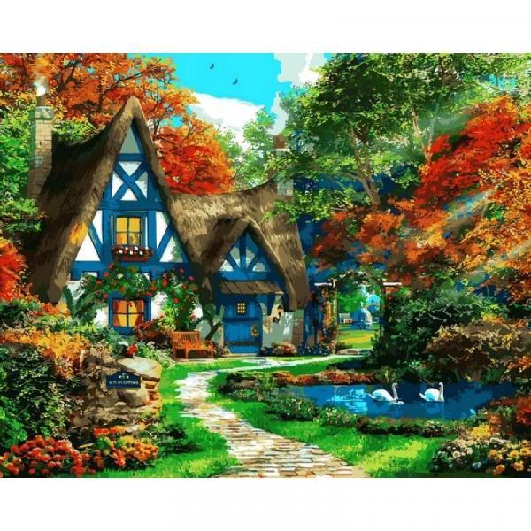 Фото Картины на холсте по номерам, Загородный дом VP 1090