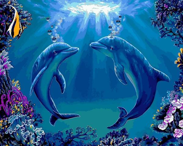 Фото Картины на холсте по номерам, Животные. Птицы. Рыбы... VP1141 Танец дельфинов Картина по номерам на холсте 40х50см