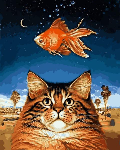 Фото Картины на холсте по номерам, Животные. Птицы. Рыбы... VP1142 Кот и рыбка Картина по номерам на холсте 40х50см