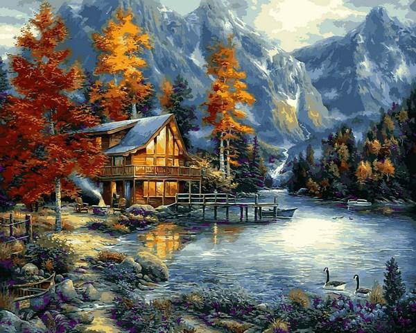 Фото Наборы для вышивания, Вышивка крестом с нанесенной схемой на конву, Пейзаж VP1151 Осеннее озеро Картина по номерам на холсте 40х50см