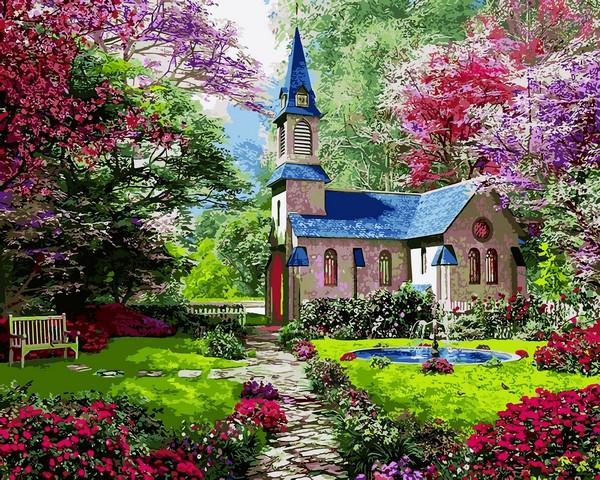 Фото Картины на холсте по номерам, Загородный дом VP1153 Цветущий сад Картина по номерам на холсте 40х50см