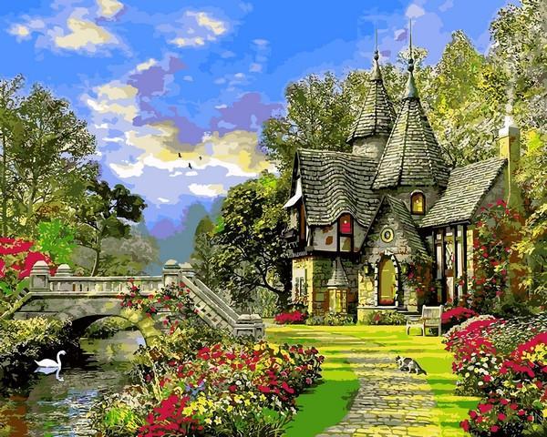 Фото Картины на холсте по номерам, Загородный дом VP1155 Дом с башенками Картина по номерам на холсте 40х50см