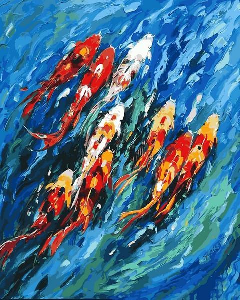 Фото Картины на холсте по номерам, Животные. Птицы. Рыбы... VP 1191 Девять карпов Роспись по номерам на холсте. 40х50см