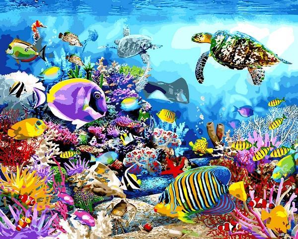 Фото Картины на холсте по номерам, Животные. Птицы. Рыбы... VP 1197 Черепаховый рай Роспись по номерам на холсте. 40х50см