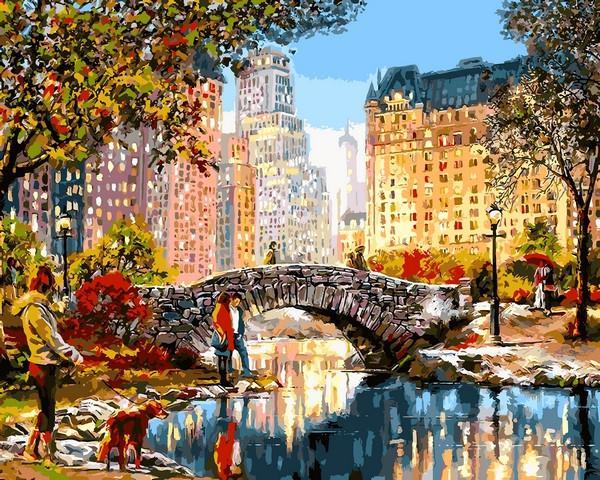 Фото Картины на холсте по номерам, Городской пейзаж VP 1199 Осеннее утро в Нью-Йорке Роспись по номерам на холсте. 40х50см