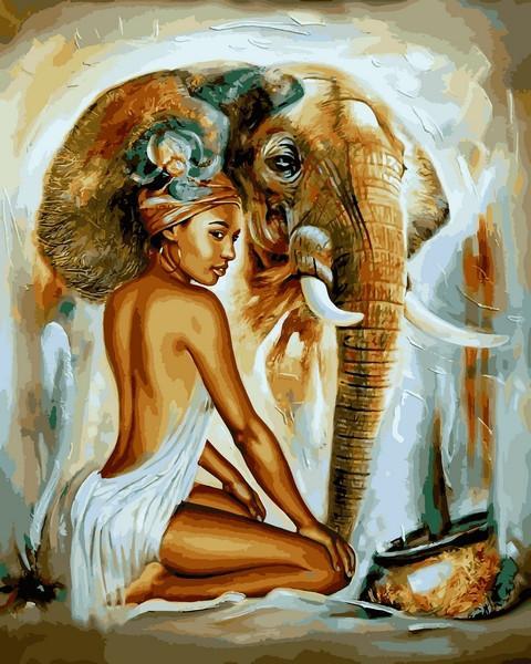 Фото Картины на холсте по номерам, Романтические картины. Люди VP 1230 Африканский колорит Картина по номерам на холсте 40х50см