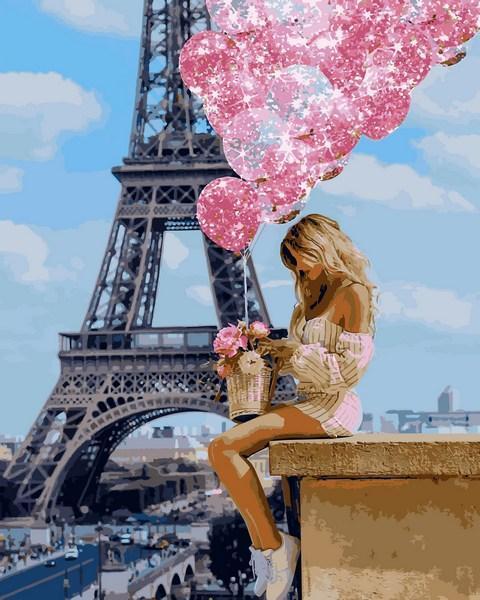 Фото Картины на холсте по номерам, Романтические картины. Люди VP 1236 Над Парижем Картина по номерам на холсте 40х50см
