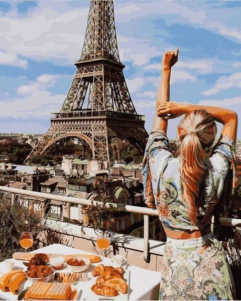 Фото Картины на холсте по номерам, Романтические картины. Люди VP 1240 Завтрак в Париже Картина по номерам на холсте 40х50см