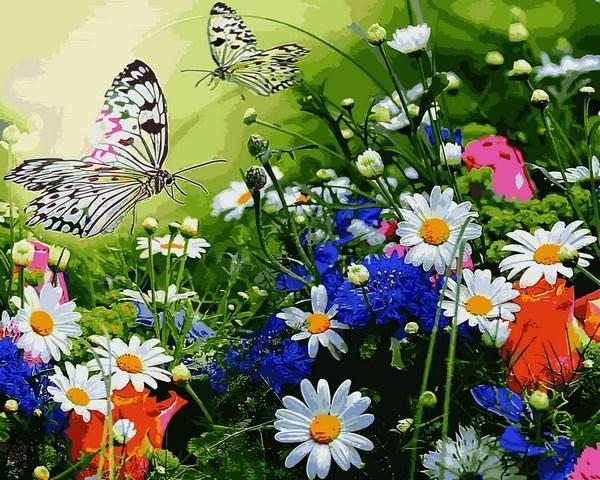 Фото Наборы для вышивания, Вышивка крестом с нанесенной схемой на конву, Пейзаж VP 1254 Цветочное поле и бабочки Картина по номерам на холсте 40х50см