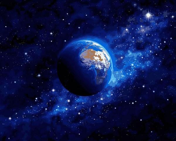 Фото Наборы для вышивания, Вышивка крестом с нанесенной схемой на конву, Пейзаж VP 1260 Земля из космоса Картина по номерам на холсте 40х50см