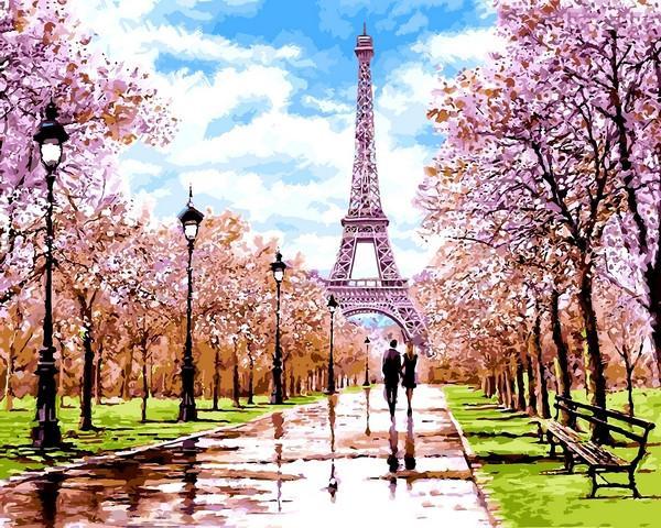 Фото Картины на холсте по номерам, Городской пейзаж VP 1198 Апрель в Париже Роспись по номерам на холсте. 40х50см