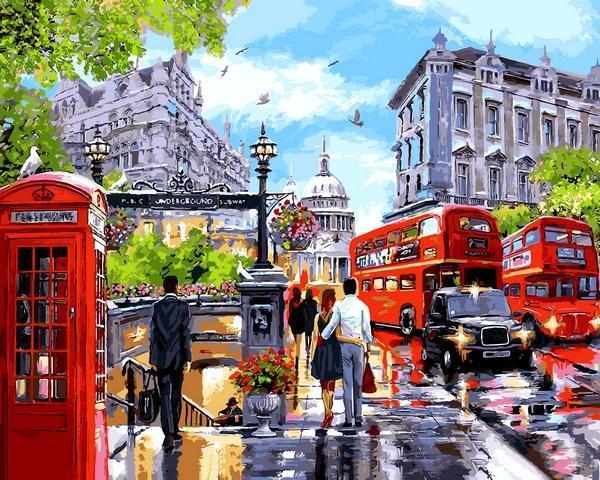 Фото Картины на холсте по номерам, Городской пейзаж VP 1242 Весна в Лондоне Картина по номерам на холсте 40х50см