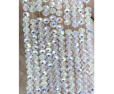Фото Бусины ,полубусины ,стразы,.цветок.шина, тесьма пластик, Бусины  разные Бусины хрустальные  4 х 3 мм. ( рондель ) упаковка  137-140 шт,  Белые -  прозрачные  с АБ бочком .
