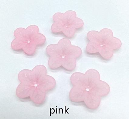 Фото Серединки ,кабашоны, Кабашоны, камеи Акриловый  матовый  цветок  18 мм.  Розового  цвета.  ( выпуклый  с  отверстием )
