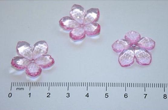 Фото Серединки ,кабашоны, Кабашоны, камеи Красивый  пришивной  цветок  23 мм.  из  акрила (стекло - пластик)  Розового  цвета.