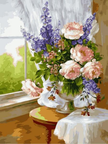 Фото Картины на холсте по номерам, Букеты, Цветы, Натюрморты VK 023