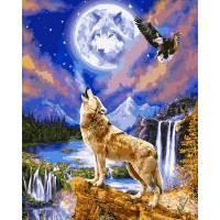 Фото Картины на холсте по номерам, Животные. Птицы. Рыбы... VP 1122 Волчья ночь Роспись по номерам на холсте 40х50см
