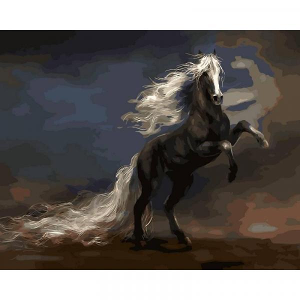 Фото Картины на холсте по номерам, Животные. Птицы. Рыбы... VP 471 Чудный конь Роспись по номерам на холсте 40х50см