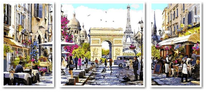 Фото Картины на холсте по номерам, Триптих, диптих VPT 046 Весенний Париж Роспись по номерам на холсте 50х50см (1холст), 2холста 50х30см