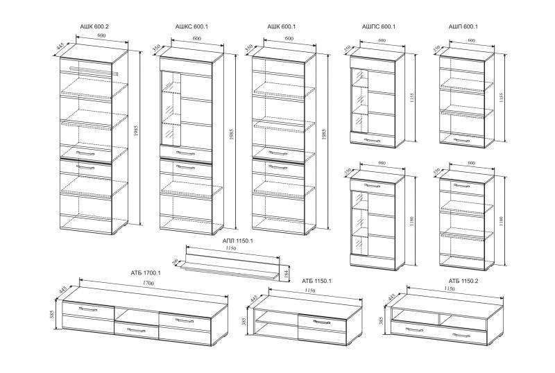 Фото Стенки и мебель для гостиной  Модульная гостиная Асти комплектация 4 (ДСВ)