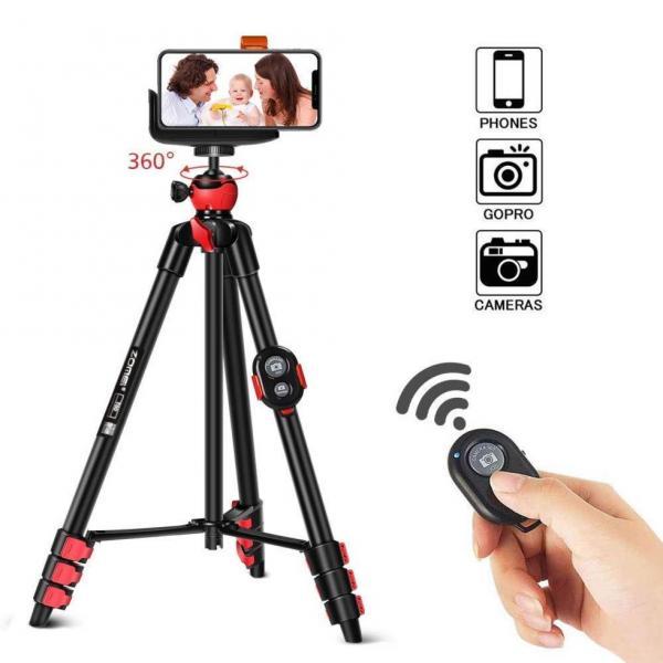 Штатив фирмы ZOMEI для фотоаппаратов, камер, телефонов - T60 + крепление и Bluetooth пульт для телефона